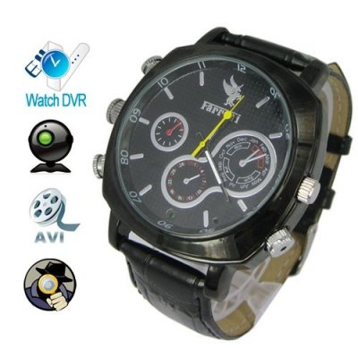 1920 x 1080P 4GB HD Waterproof Spy Camera Watch with Black Leather Strap